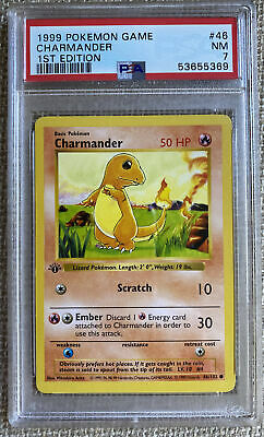 1999 Pokemon Base Set 1st Edition Shadowless Charmander #46 PSA 7 NRMT