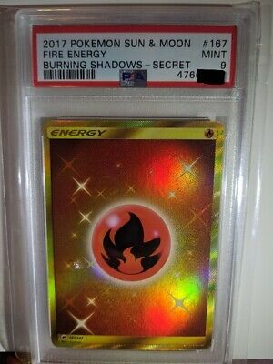 Fire Energy Secret Burning Shadows PSA 9 Pokemon