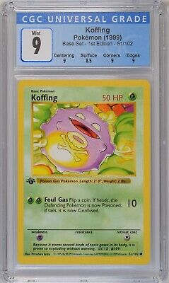 1999 Pokemon Base Set 1st Edition #51/102 Koffing CGC 9 Mint (Thick Stamp)