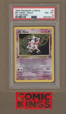 1st EDITION MR. MIME HOLO #6/64 PSA 8  1999 JUNGLE POKEMON   COMIC KINGS