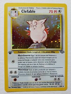 Pokemon 1st Edition Spanish Jungle Clefable Holo Swirl Near Mint 1/64
