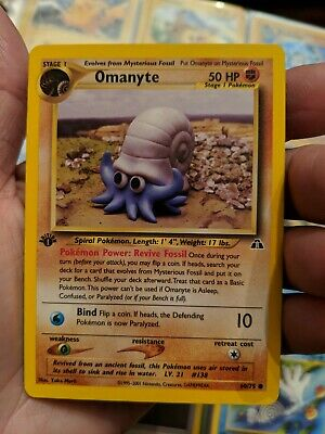 Pokemon Card-Omanyte 60/75-Neo Discovery-1ST EDITION-common-Mint Condition