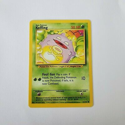 Pokemon Base Set 1999 Koffing Card MP 51/102 TCG Trading Card Game Unlimited