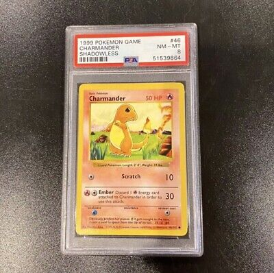 PSA 8 - CHARMANDER - 1999 Shadowless Pokemon Base Set #46/102