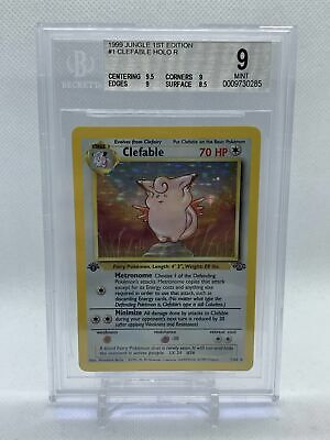 Pokemon BGS 9 Clefable 1/64 Holo Jungle 1st Edition Mint Beckett