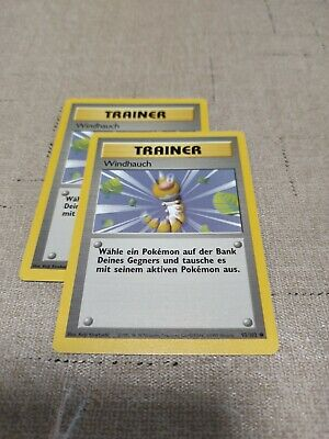 Pokemon 1999 BASE SET  German WINDHAUCH (Gust of Wind) Trainer Card x 2