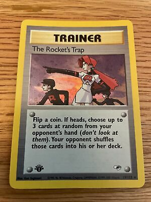 The Rocket's Trap - 1st Edition - Holo Rare - 19/132 Gym Heroes Pokemon Card NM