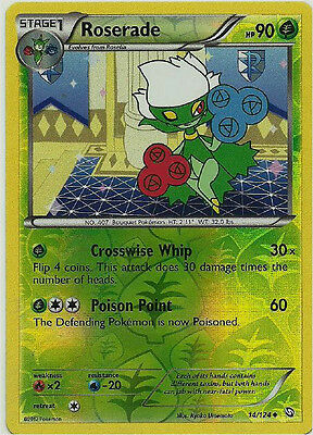 Roserade 14/124 B&W Dragons Exalted REVERSE HOLO PERFECT MINT! Pokemon