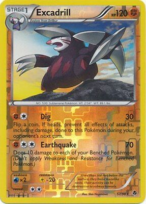 Excadrill 57/98 B&W Emerging Powers REVERSE HOLO PERFECT MINT! Pokemon
