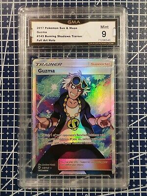 2017 Pokemon SM Guzma Full Art Holo 143/147 GMA 9 Mint Burning Shadows Trainer