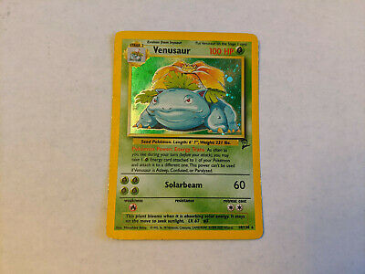 Pokemon TCG Venusaur Base Set 2 18/130 Holographic Card - Used