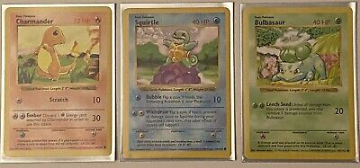 Pokemon Base Set Shadowless Trio: Bulbasaur, Squirtle, Charmander Near Mint/Mint