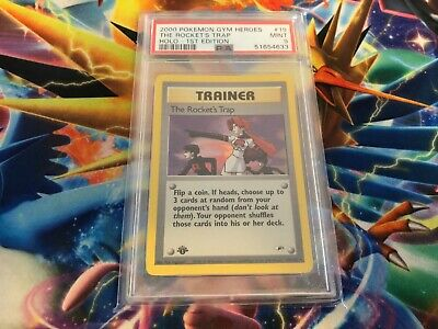 2000 Pokemon Gym Heroes 1st Edition Holo Trainer The Rocket's Trap 19 PSA 9 MINT