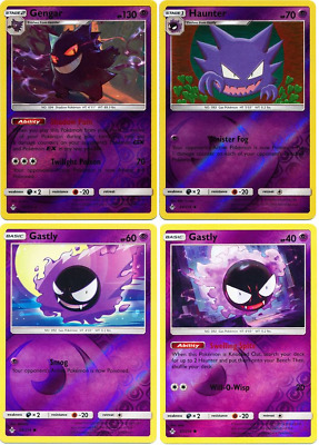 Gengar Haunter Gastly Pokemon 4 Card Rare Reverse Holo Evolution Unbroken Bonds