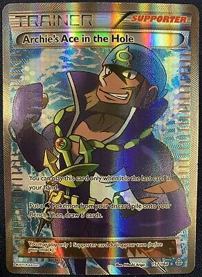 Archie's Ace In The Hole Full Art Ultra Rare Pokemon Primal Clash 157/160 Nm