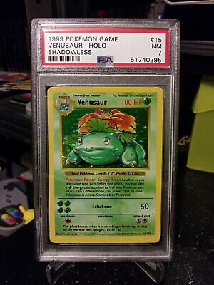 1999 Pokemon Shadowless Venusaur Base Set Holo #15 PSA 7 NM NEAR MINT