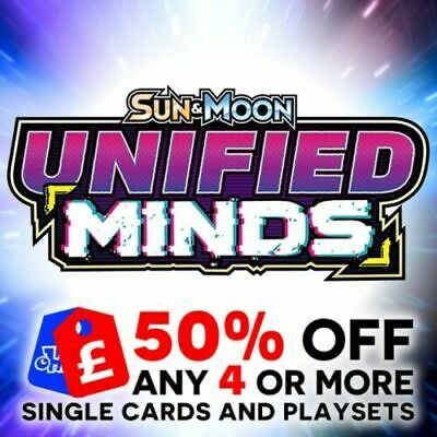 Pokemon - Sun & Moon Unified Minds Single + Trainer Cards + Playsets - Sm11 New