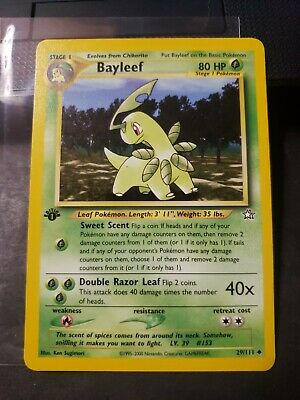 1st Edition BAYLEEF 29/111 Neo Genesis  Pokemon Card Non Holo NM/MINT CLEAN