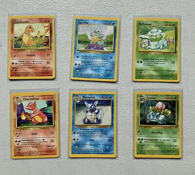 1999 Pokemon Cards Base Set Starters - Charmander, Squirtle, Bulbasaur +