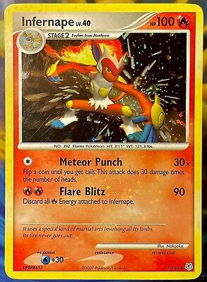 Pokemon INFERNAPE 5/130🩸HOLO BLEED FULL CARD MISPRINT🩸Diamond&Pearl CRAZY RARE