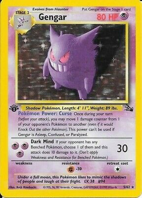 1999 Pokemon Fossil 5/62 Gengar Holo 1st Edition Excellent Condition
