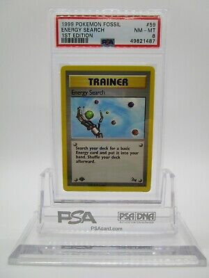PSA 8 NM-MT Energy Search 1999 Fossil 1st Edition Pokemon Card 59/62