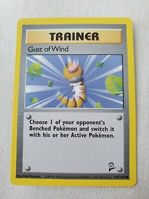 Trainer Gust Of Wind Pokemon Card 120/130 Base Set 2 1999 Never Played