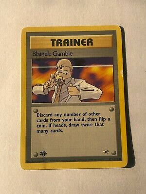 Pokemon card 1st Edition Gym Heroes Trainer Blaine's Gamble 121/132 Light played