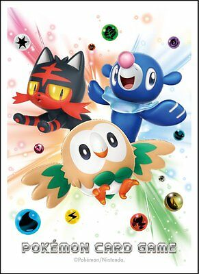 1x Japanese Pokemon SM1 Sun & Moon Rowlet Litten Popplio Sleeves 64ct BRAND NEW!
