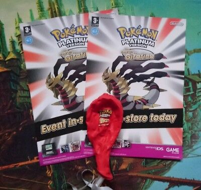 Pokemon Platinum Ds Promotional Balloon & leaflets- Search For Giratina Shaymin.