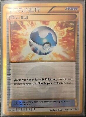 DIVE BALL 161/160 Gold Secret Rare Pokemon Card XY Primal Clash Near Mint