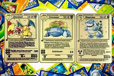 Metal Pokemon Cards Charizard Base Set Blastoise Venusaur Gold 1st Edition