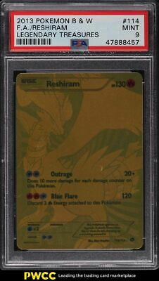 2013 Pokemon B & W Legendary Treasures Full Art Reshiram #114 PSA 9 MINT