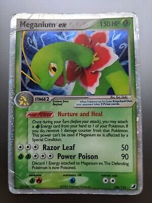 Meganium EX 106/115 EX Unseen Forces Rare Holo Pokemon Card in poor condition