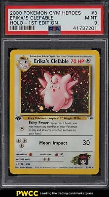 2000 Pokemon Gym Heroes 1st Edition Holo Erika's Clefable #3 PSA 9 MINT