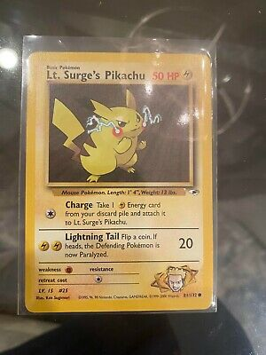 Lt. Surge's Pikachu Pokemon Card Gym Heroes 81/132 Near Mint