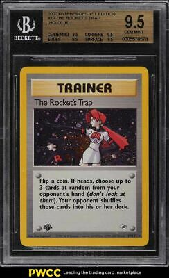2000 Pokemon Gym Heroes 1st Edition Holo The Rocket's Trap #19 BGS 9.5 GEM MINT