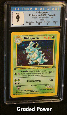 Pokemon Jungle 1st Edition French Nidoqueen CGC 9 Quad++ Holo FRENCH (1378) 7/64