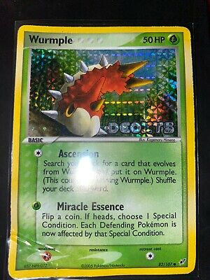 Wurmple - 82/107 - Common - Holo Stamped EX Deoxys Pokemon Card HP/Damaged