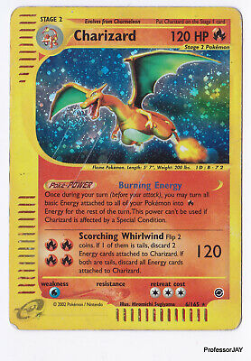 Pokemon Cards - Charizard 6/165 - Normal Holo - Expedition Base Set - PLAYED