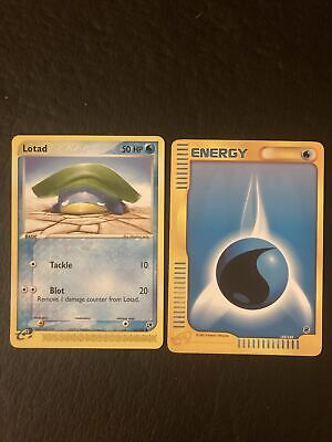 Lotad 67/100 Sandstorm Pokemon Card + Energy Card / Near Mint