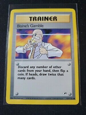 Blaine's Gamble121/132 Trainer Gym Heroes set Pokemon Card Very Good Condition!