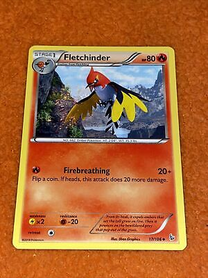 Pokemon card Fletchinder 17/106 stage 1 Uncommon Fire XY Flashfire 2014