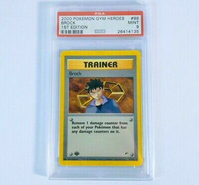PSA 9 Pokemon Gym Heroes 1st Edition Brock Trainer #98 Non Holo