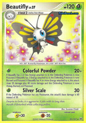 1x - Beautifly - 21/127 - Rare NM, English Pokemon Platinum