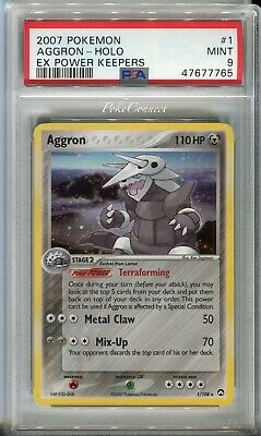 PSA 9 MINT Pokemon AGGRON Holo Rare 2007 ex Power Keepers #1/108