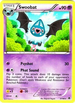 1x - Swoobat - 37/98 - Rare HP, English Pokemon Emerging Powers