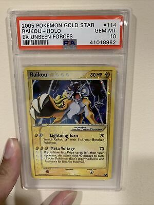 2005 Pokemon EX Unseen Forces Holo Raikou Gold Star #114 PSA 10 GEM MINT