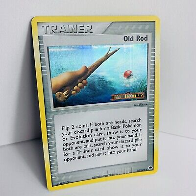 Pokemon HOLO Reverse OLD ROD TRAINER EX Dragon Frontiers 25/101 STAMPED VG+