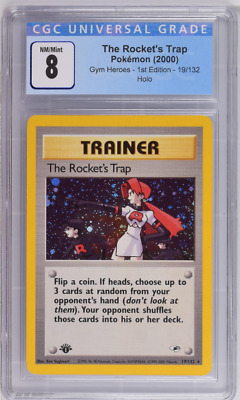 Pokemon 2000 1st Edition Gym Heroes The Rocket's Trap #19 Holo CGC 8 NM/Mint